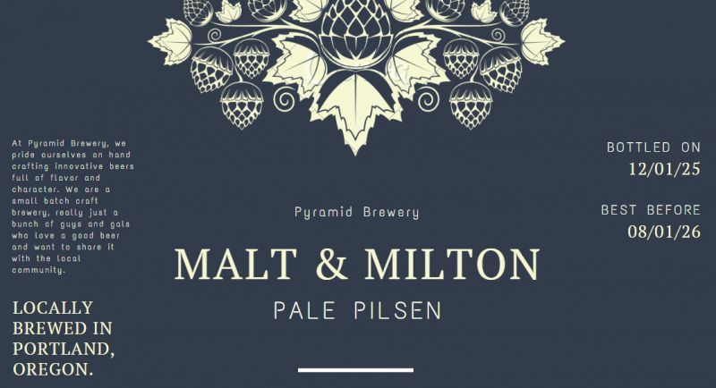 Dark Blue and Beige Malt Vector Beer Label